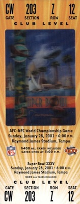 2001 Super Bowl XXXV Ticket