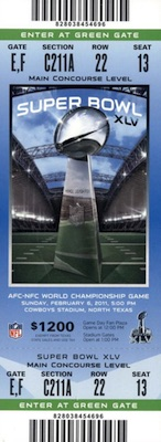 2011 Super Bowl XLV Ticket