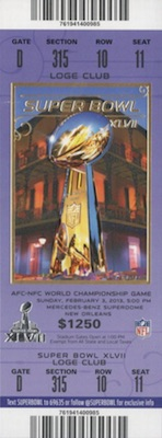 2013 Super Bowl XLVII Ticket