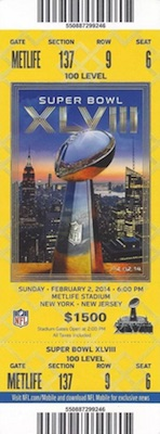 2014 Super Bowl XLVIII Ticket