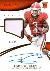 2015 Panini Immaculate Collection Collegiate Todd Gurley #307 Autographed Patch