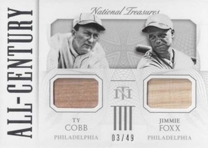 2015 Panini National Treasures Ty Cobb, Jimmie Foxx All-Century Bat Relic