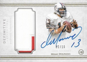 2015 Topps Definitive Collection Football Autograph Patch Dan Marino