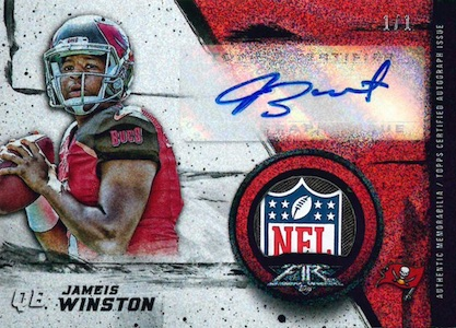 2015 Topps Fire Football Autograph Rookie Patches Logo Winston