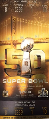 2016 Super Bowl 50 Ticket