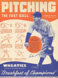 1937 Wheaties Cereal Panel Series 6 Red Ruffing
