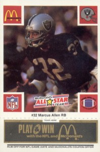1986 McDonald's Play & Win All-Star Team Black Tab Marcus Allen #MAAL