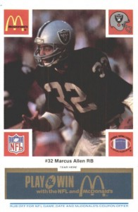 1986 McDonald's Play & Win All-Star Team Blue Tab Marcus Allen #MAAL