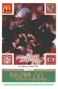 1986 McDonald's Play & Win All-Star Team Green Tab Marcus Allen #MAAL