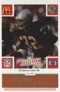 1986 McDonald's Play & Win All-Star Team Orange Tab Marcus Allen #MAAL