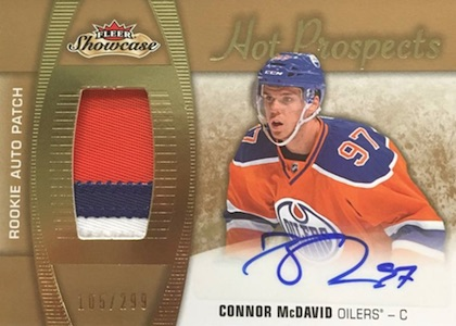 2015-16 Fleer Showcase Hockey Hot Prospects Rookie Auto Patch Connor McDavid