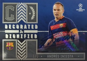 2015-16 Topps UEFA Champions League Showcase Decorated and Dignified Autograph Iniesta