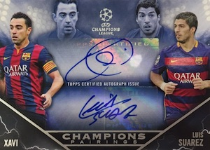 2015-16 Topps UEFA Champions League Showcase Pairings Autographs Xavi Suarez