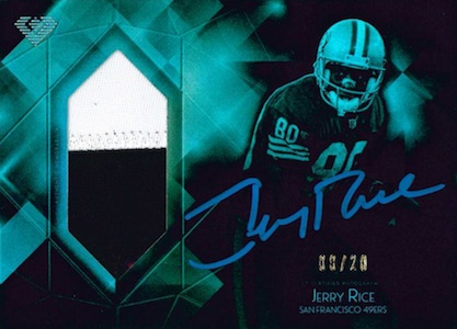 2015 Topps Diamond Football Autograph Patch Jerry Rice Blue Ink