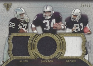 2015 Topps Triple Threads Relic Marcus Allen, Bo Jackson, Tim Brown #TTR-AJB