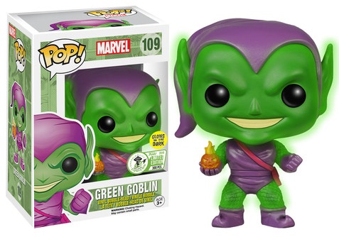 2016 Funko Emerald City Comicon Exclusives Pop Marvel #109 Green Goblin Glow In The Dark