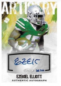 2016 Sage Hit Low Series Football Artistry Autographs Ezekiel Elliott
