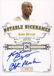 2009-10 National Treasures Notable Nicknames Kobe Bryant Autograph Black Mamba