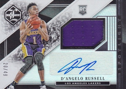 2015-16 Panini Limited Basketball Rookie Jersey Autographs Spotlight Russell