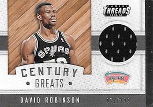 2015-16 Panini Threads Basketball Century Greats Jersey David Robinson
