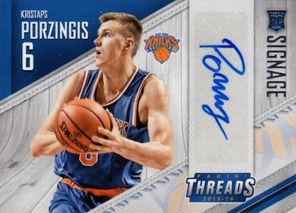 2015-16 Panini Threads Basketball Signage Porzingis