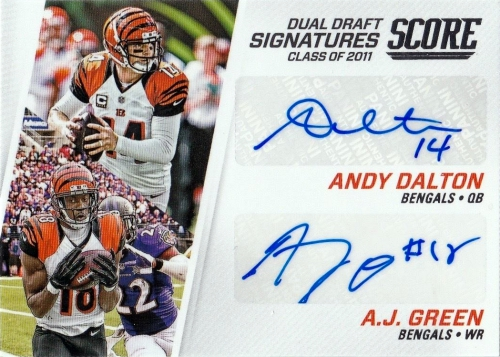 2016 Score Football Dual Draft Signatures