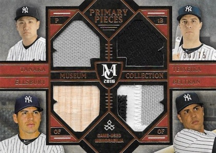2016 Topps Museum Collection Baseball Four-Player Primary Pieces Quad Relic Yankees