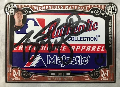 2016 Topps Museum Collection Baseball Momentous Material Laundry Tag Relic