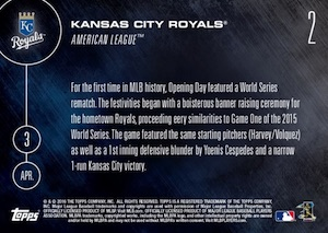 2016 Topps Now Baseball 2 Kansas City Royals back