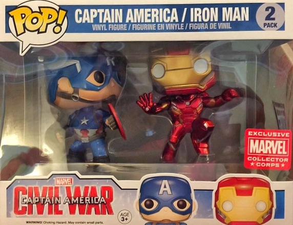 Funko Pop Captain America Civil War 2-Pack Captain America and Iron Man Action Collector Corps