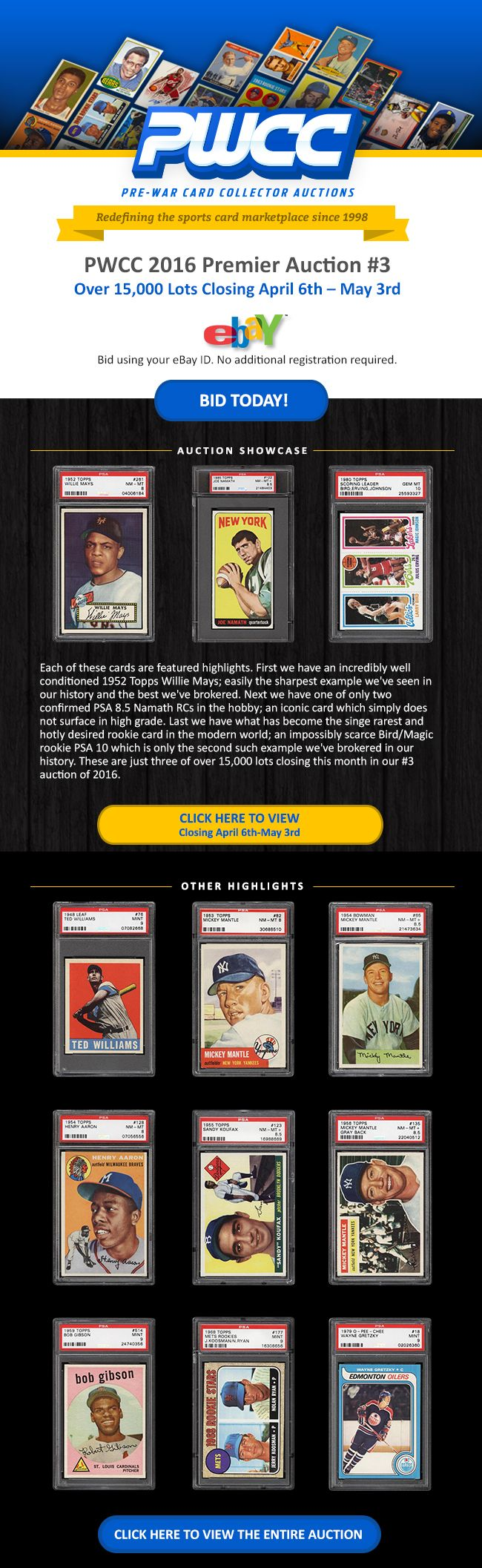 1948 Leaf Williams PSA 9, 53 Topps Mantle PSA 8, 52 Topps Mays PSA 8 and more, Highlight PWCC Premier Auction #3 1