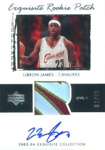 2003-04 Exquisite LeBron James Rookie cards Autographed Patch