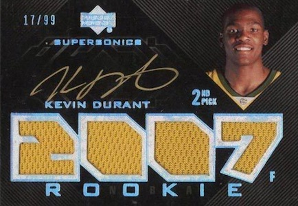 2007-08 UD Black Kevin Durant RC #106 Autographed Jersey