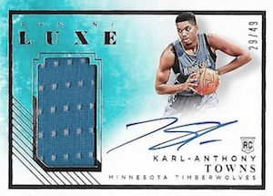 2015-16 Panini Luxe Rookie Memorabilia Autographs Karl-Anthony Towns RC