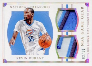 2015-16 Panini National Treasures Basketball Game Gear Duals Durant