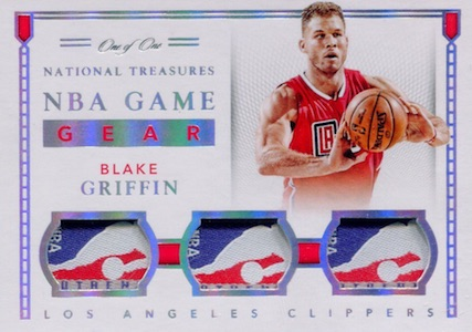 2015-16 Panini National Treasures Basketball Game Gear Triples Tag Blake Griffin