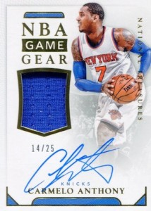 2015-16 Panini National Treasures Basketball NBA Game Gear Autographs Carmelo Anthony