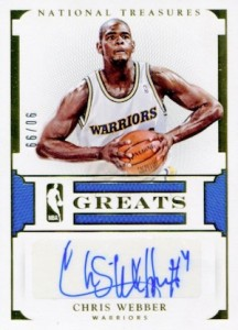 2015-16 Panini National Treasures Basketball NBA Greats Autographs Chris Webber