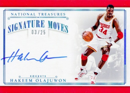 2015-16 Panini National Treasures Basketball Signature Moves Hakeem Olajuwon