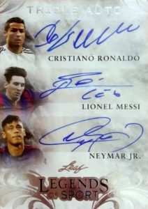 2015 Leaf Legends of Sport Triple Autograph Cristiano Ronaldo, Lionel Messi, Neymar