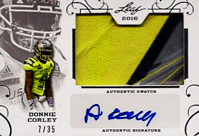 2016 Leaf Metal US Army All-American Patch Donnie Corley