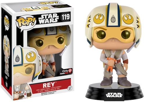 Funko Pop Star Wars The Force Awakens 119 Rey helmet and doll GameStop