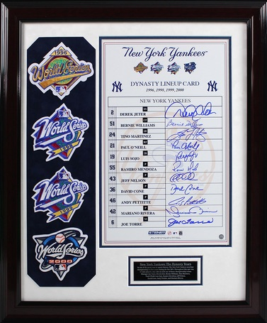 Steiner Yankees Dynasty Collection Framed 10x16 Commemorative Signed Lineup Card