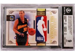2009-10 Stephen Curry National Treasures Logoman Auto 5