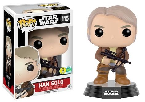 2016 Funko San Diego Comic-Con Exclusives Pop Star Wars Force Awakens #115 Han Solo w: Chewbacca Bowcaster