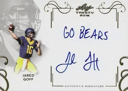 2016 Leaf Trinity Football Signatures Inscriptions Jared Goff