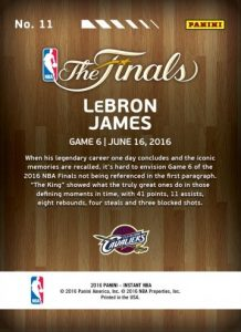 2016 Panini Instant NBA Finals Basketball Cards 2