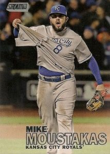 2016 Topps Stadium Club Baseball Variations Moustakas tugging jersey