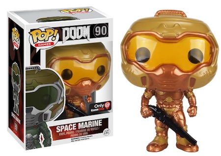 Funko Pop Doom 90 Space Marine Gold Gamestop exclusive