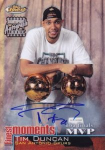 2000-01 Topps Finest Moments Refractor Autographs Tim Duncan